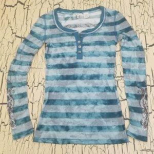 Miss Me Girls Embellished Sheer Pullover Shirt M